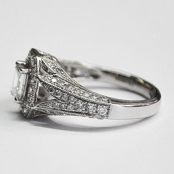 White Vintage Open Octagon Pave Halo Ring with Emerald Cut Diamond