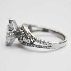White Round & Baguette Accent Marquise Engagement Ring