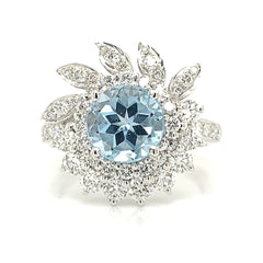 Sunburst Diamond Halo Engagement Ring with Blue Topaz