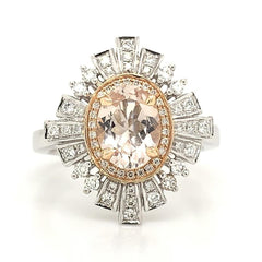 White and Rose Oval Art Deco Halo with Morganite