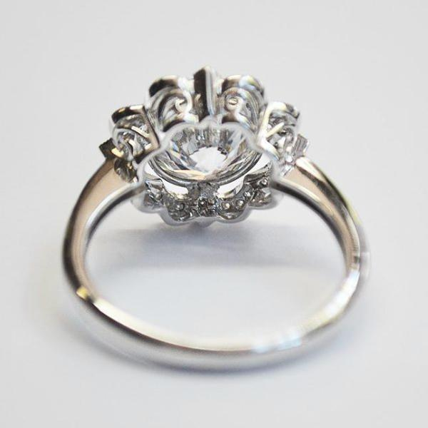 White Bezel Set Floral Halo Engagement Ring with Diamonds