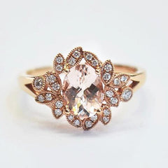 Rose Leaf Milgrain Halo Engagement Ring with Morganite