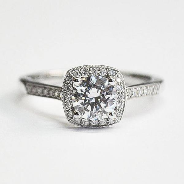 White Milgrain Diamond Pave Cushion Halo Wedding Set