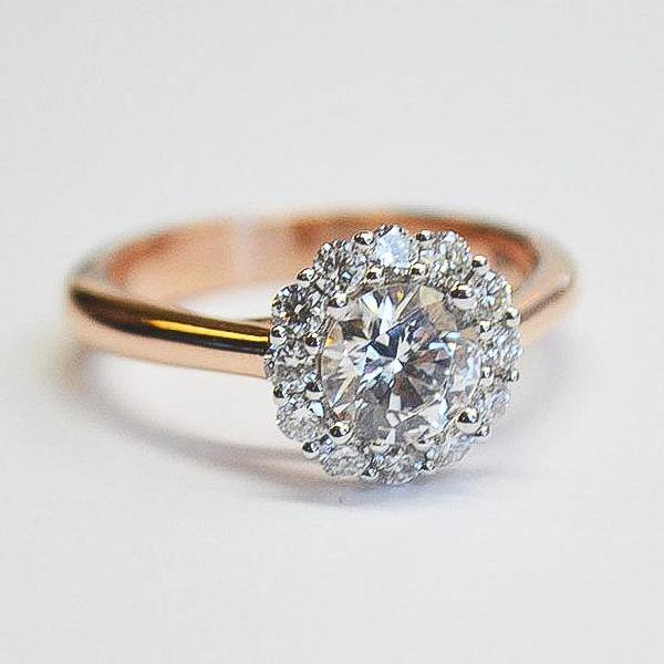 White Diamond Halo Ring with Rose Shank