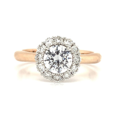 Round Halo Diamond Ring with Plain Shank