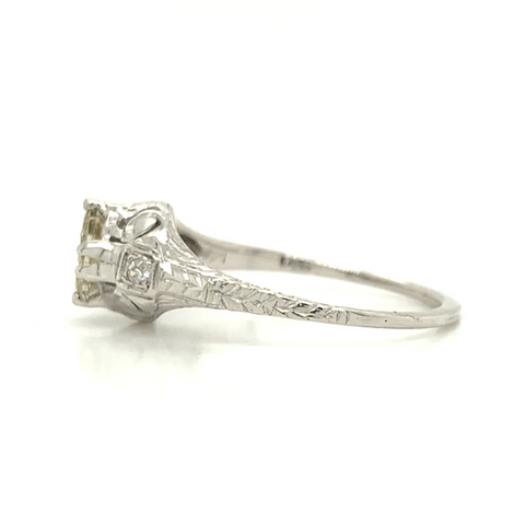 White Gold Antique Scroll Engraved Brown Diamond Ring