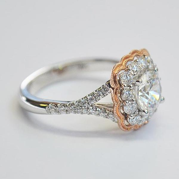 White and Rose Scalloped Diamond Halo