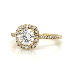Yellow Gold Micro Pave Diamond Halo