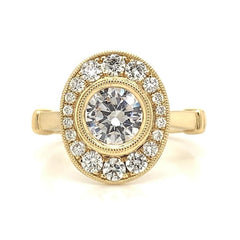 Yellow Bezel Set Pave Diamond Halo