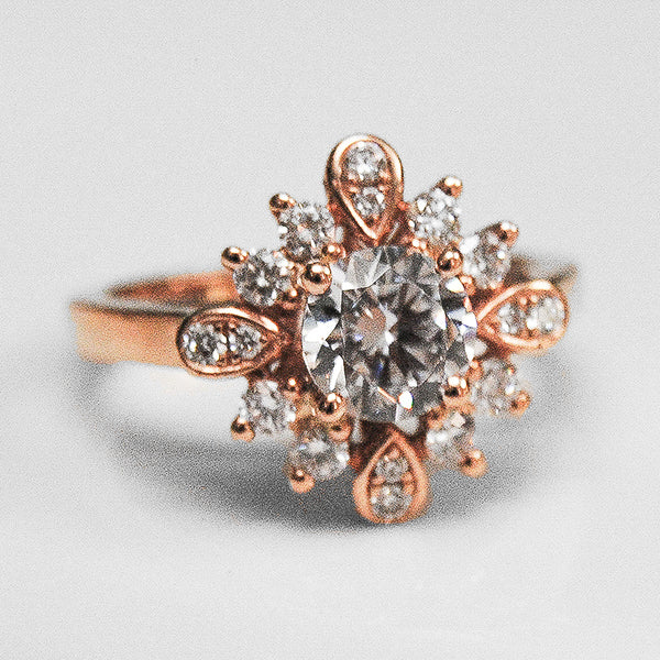 Rose Alternating Halo with Diamonds