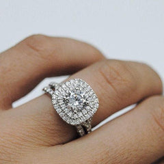 White Diamond Double Cushion Halo with Split Shank