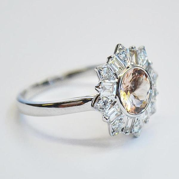 White Art Deco Diamond Halo Engagement Ring with Morganite