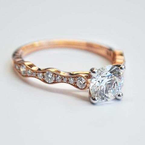 Rose Alternating Ring with Diamonds