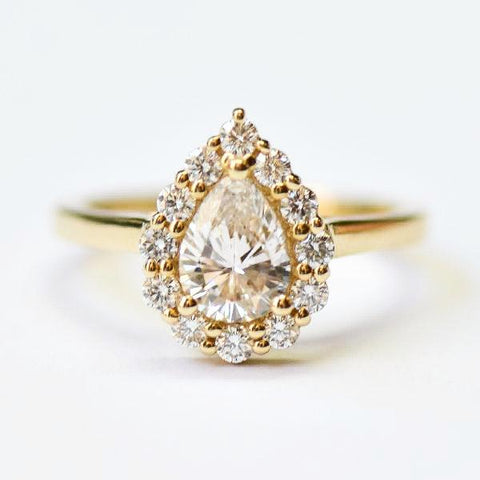 Yellow Prong Set Pear Shape Diamond Halo