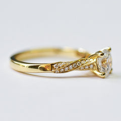 Yellow Micro Pave Diamond Twist Ring with Milgrain