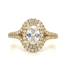 Yellow Oval Double Halo Two Row Ring