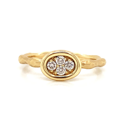 14K East to West Oval Cluster Hammered Diamond Ring