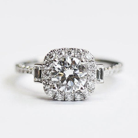 Passion White Cushion Diamond Halo Engagement Ring with Baguette Accents