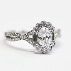 Vintage Explorer White Round & Baguette Oval Halo Ring with Diamond Twist Shank