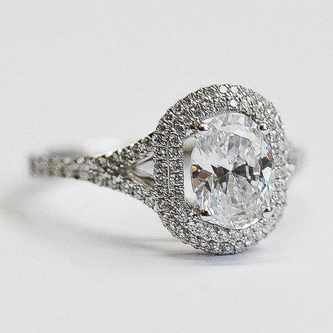 Passion White Double Halo Oval Engagement Ring Split Shank with Diamonds