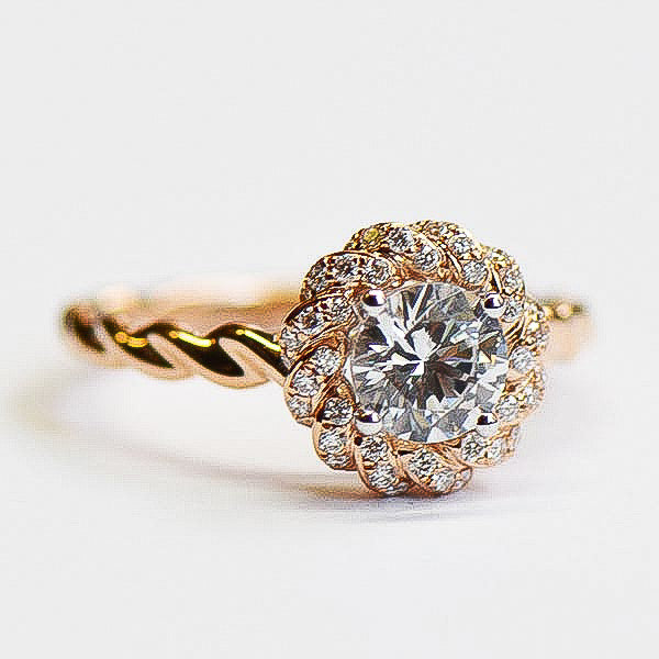 Romance Rose Twist Engagement Ring with Diamond Halo