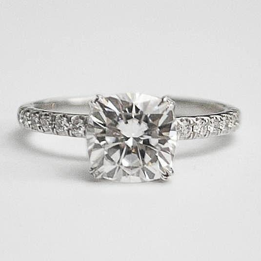 White Diamond Engagement Ring with Cushion Cut Moissanite