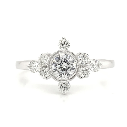 Delicate Diamond Accent Bezel Set Engagement Ring