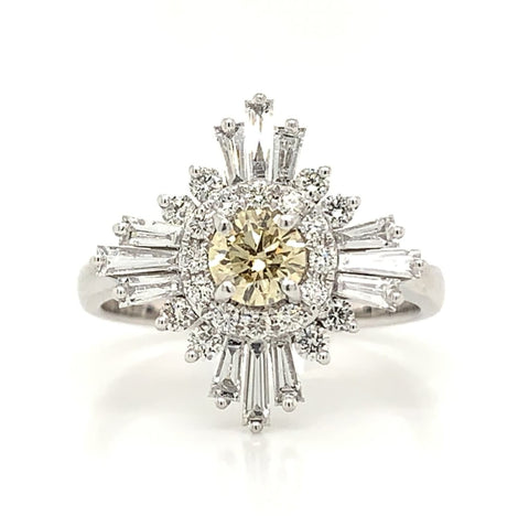 Baguette Art Deco Diamond Halo Engagement Ring with Yellow Diamond