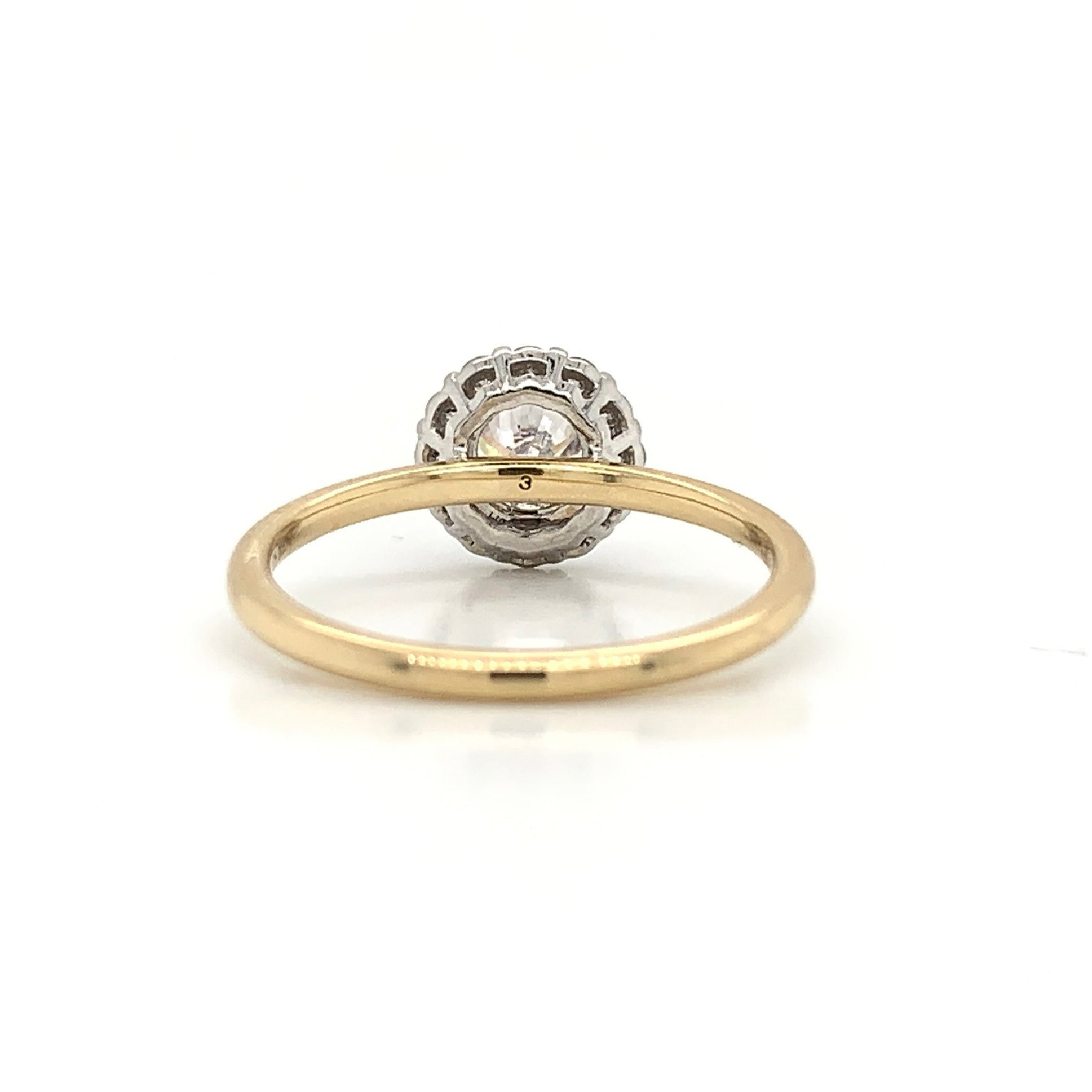 Two-Tone Delicate White Gold Halo with Yellow Gold Plain Shank
