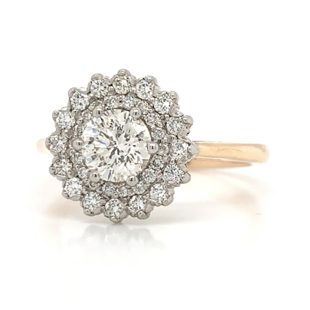 Rose & White Gold Double Halo Diamond Ring