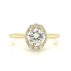 Yellow Gold Oval Illusion Halo Diamond Ring with Plain Shank
