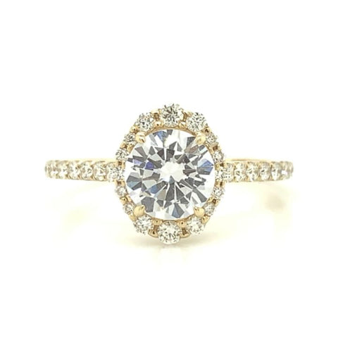 Yellow Gold Oval Illusion Halo Diamond Ring with Pave Shank
