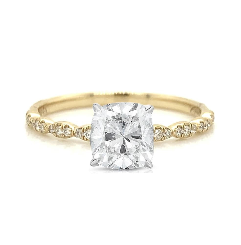 Yellow Gold Petite 3 Stone Station Pave Diamond Ring