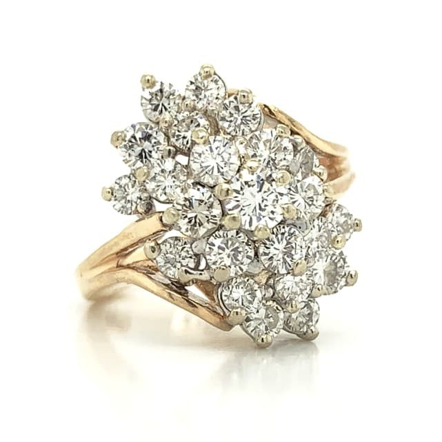 Yellow Gold Antique Waterfall Diamond Ring