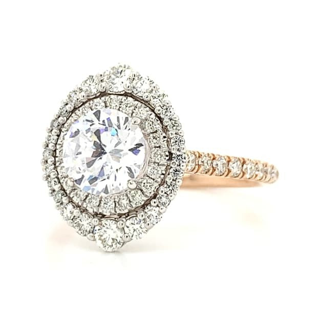 Double Halo French Pave Round Diamond Ring