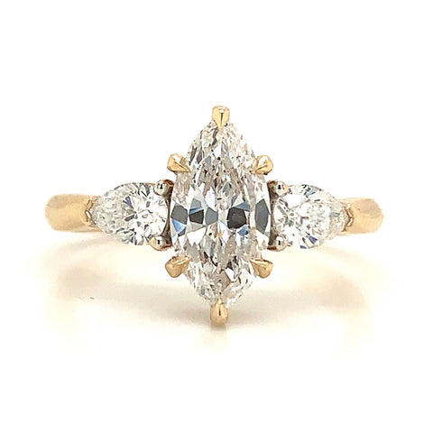 Three Stone Diamond Marquise & Pear Engagement Ring
