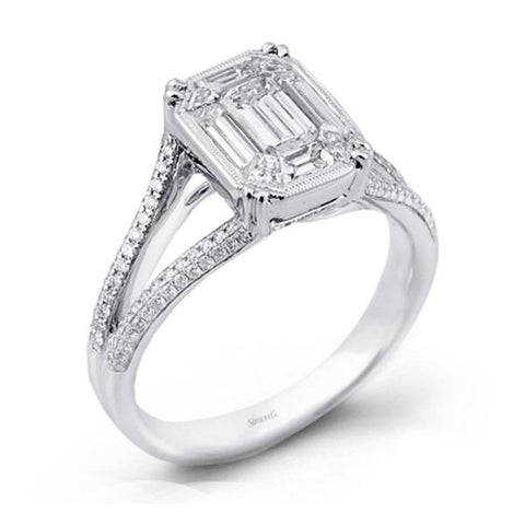 Passion White Mosaic Engagement Ring with Diamonds