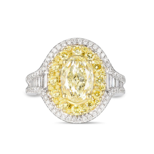 Yellow and White Ring with Yellow Oval Diamond