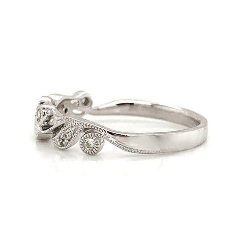 Intricate Floral Milgrain Diamond Band