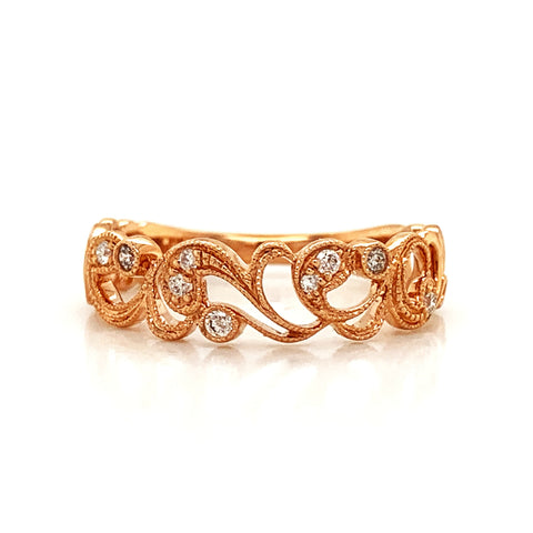 Medium Open Intricate Floral Diamond Band