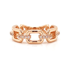 Open Link Pave Accent Diamond Band