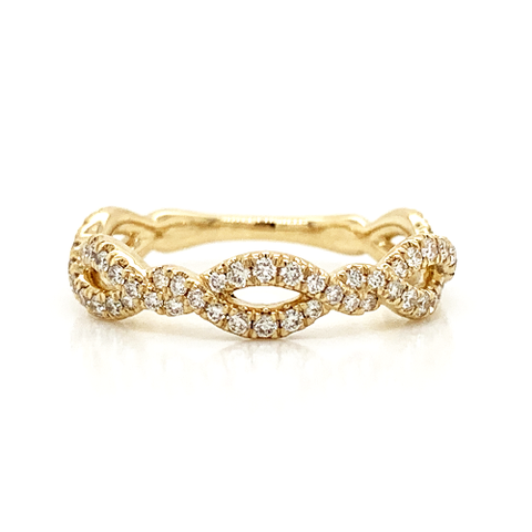 Tightly Twisted Alternating Pave Diamond Band