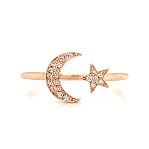 14K Diamond Pave Moon & Star Stackable Ring