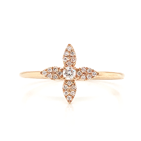 14K Diamond Pave Floral Stackable Ring
