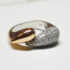 Rose Gold Double Teardrop Diamond Pave Ring
