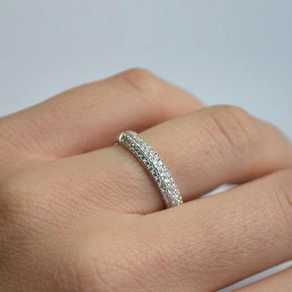 White Three Row Dome Micro Pave Diamond Band