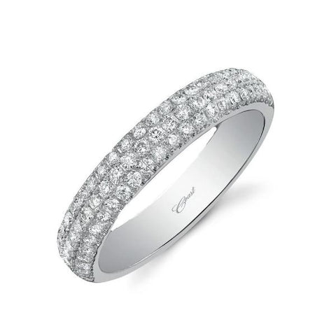 White 3 Row Pave Band