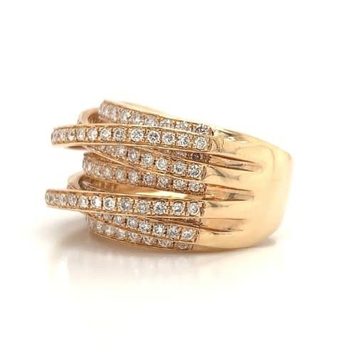 Rose Gold 7 Row Cross-Over Diamond Fashion Ring