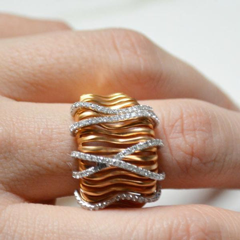 Rose Gold Wide Concave Satin Finish Wire Diamond Fashion Ring