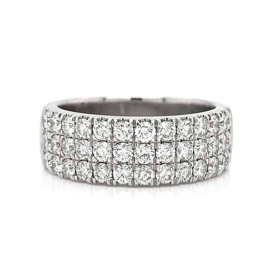 White 3 Row Wide Pave Diamond Band